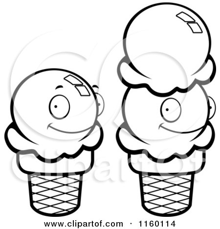450x470 Cartoon Clipart Of Black And White Sugar Ice Cream Cones