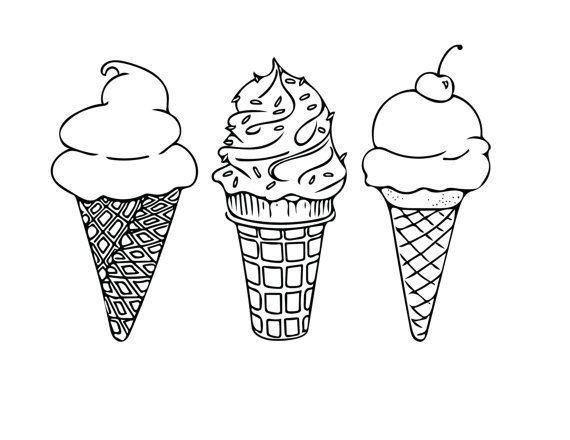 570x440 Printable Coloring Sheet, Instant Download, Ice Cream Cones