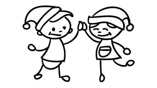 320x180 Christmas Kids Eating Ice Cream Line Drawing Illustration