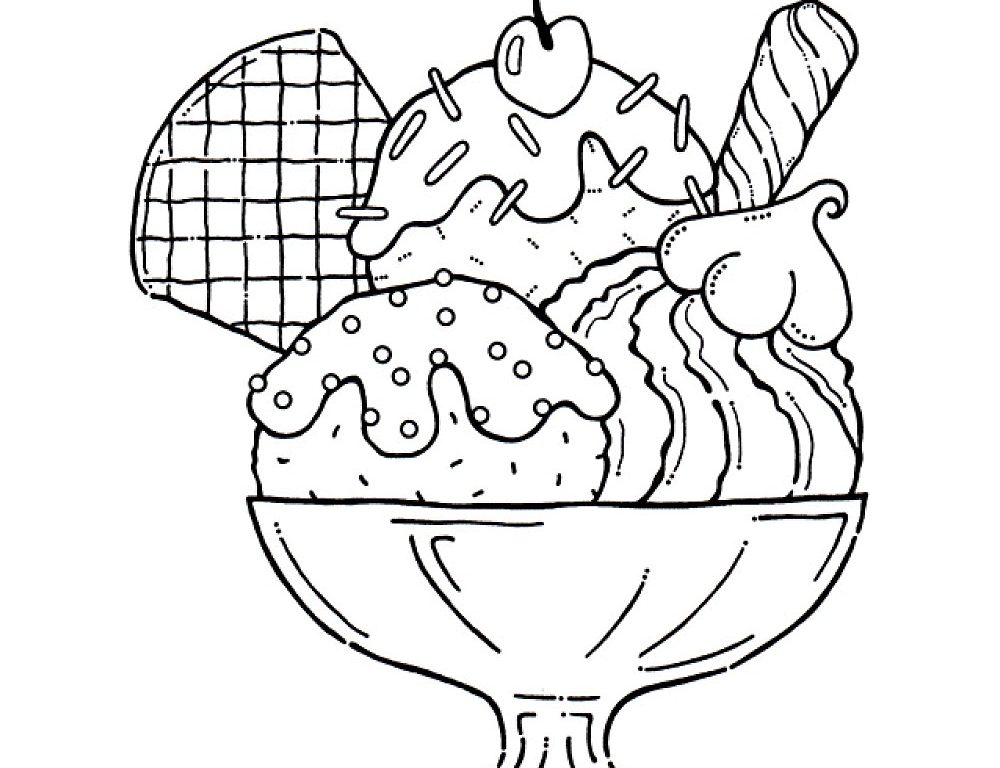 1000x768 Ice Cream Coloring Page To Download Kids Free Sundae Pages Cake