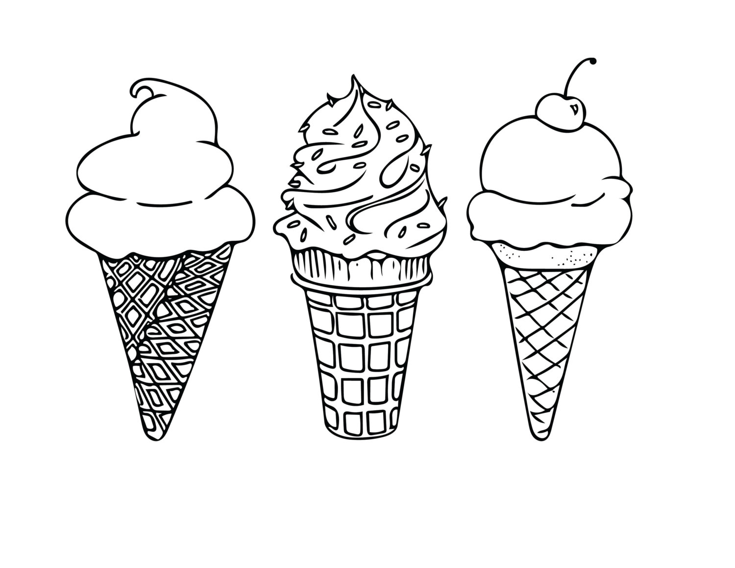 Ice cream line drawing at free for for Black line coloring pages
