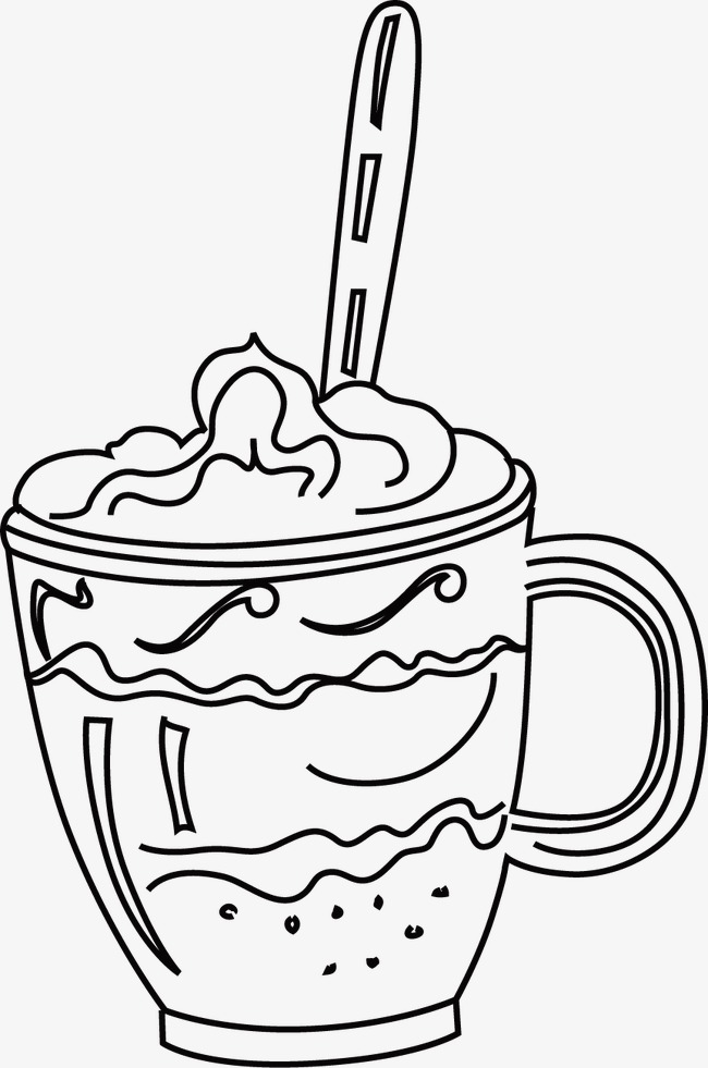 650x981 Ice Cream, Line Drawing, Black And White, Hand Painted Png Image