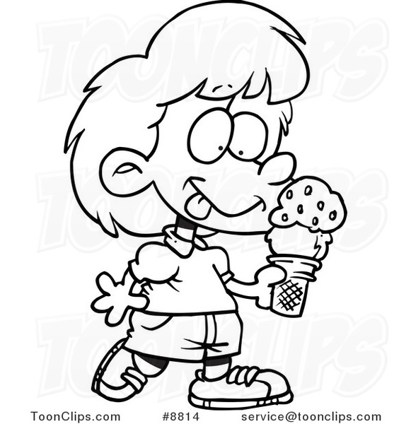 581x600 Cartoon Black And White Line Drawing Of A Girl With Ice Cream