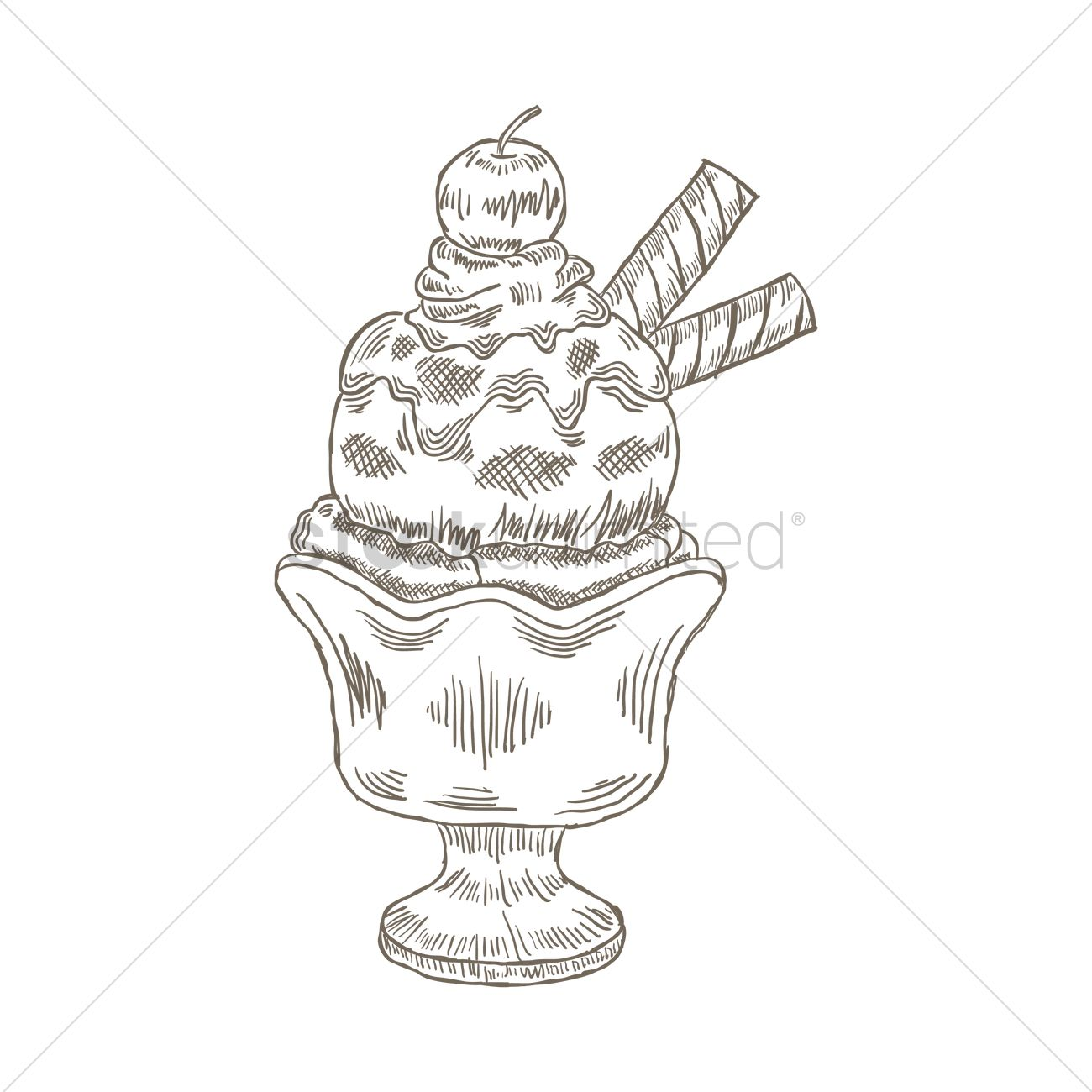 1300x1300 Ice Cream In Glass Cup Vector Image