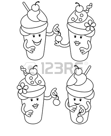 368x450 Simple Line Drawing. Fabulous Ice Cream With Cherries. May Be