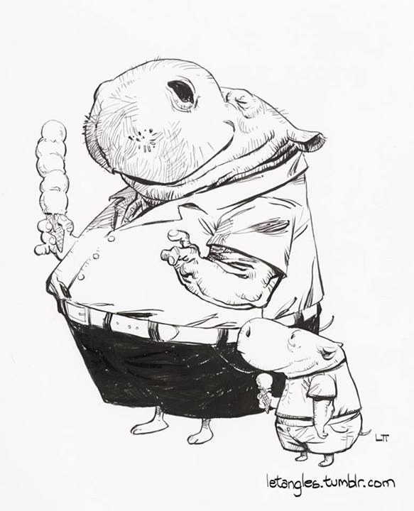 583x720 Dad Hippo Son Hippo, Eating Ice Cream. Illustrations