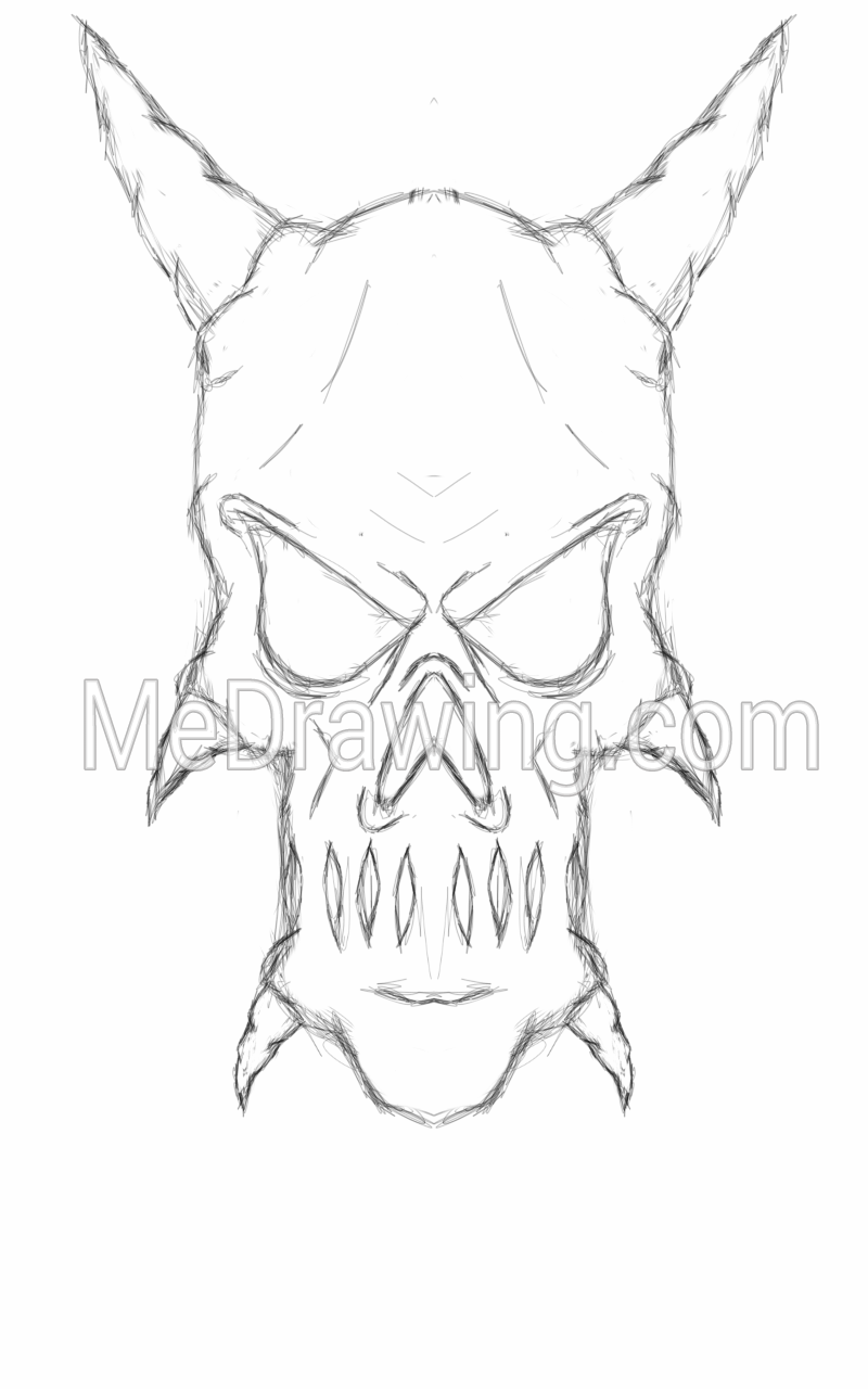 800x1280 Demon Skull Head Sketch