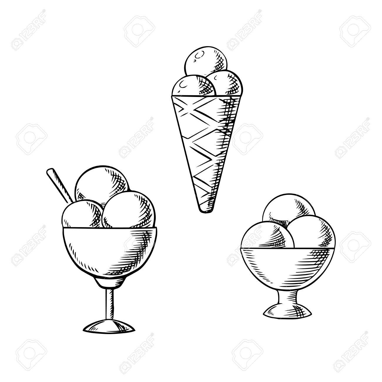 1300x1300 Delicious Sweet Ice Cream Cone With Sugar Waffle And Sundae
