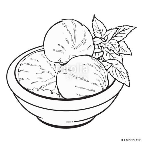 500x500 Hand Drawn Black And White Contour Bowl Of Matcha Tea Ice Cream
