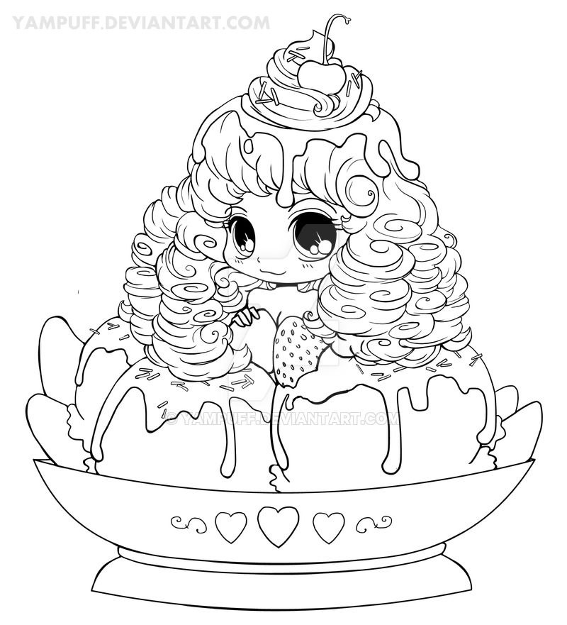 800x881 Ice Cream Girl Lineart By Yampuff