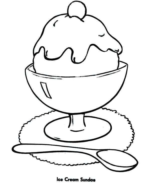 600x734 Ice Cream Sundae Coloring As Well As Ice Cream Sundae Coloring