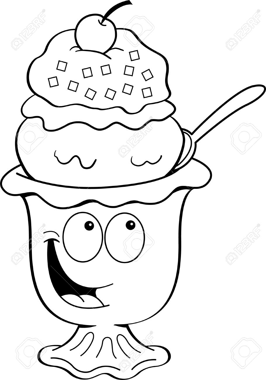 910x1300 Black And White Illustration Of An Ice Cream Sundae Royalty Free