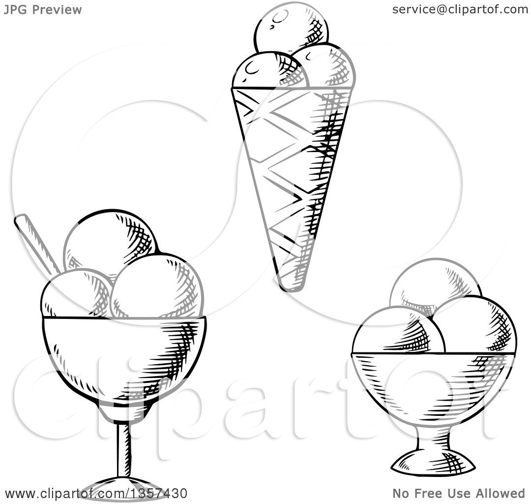 1080x1024 Clipart Of Black And White Sketched Ice Cream Sundaes And A Cone