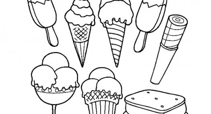728x393 Beautiful Ice Cream Cone Coloring Page