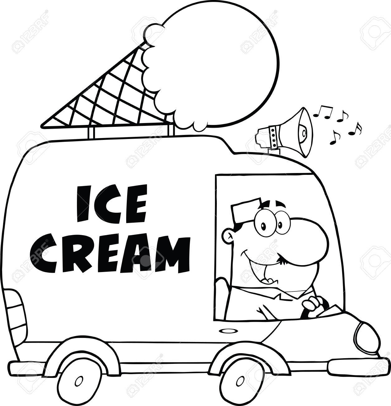 1255x1300 Black And White Happy Ice Cream Man Driving Truck Royalty Free