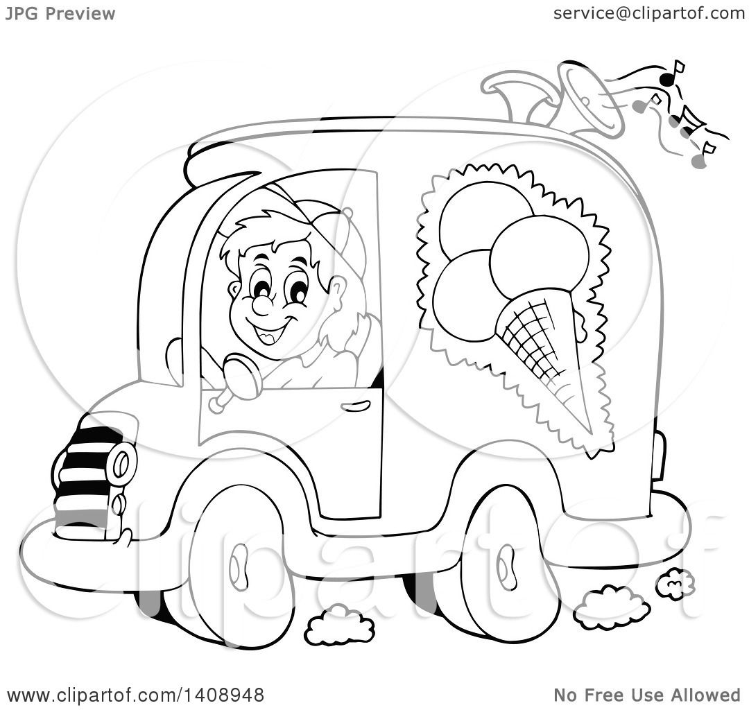 1080x1024 Clipart Of A Black And White Lineart Ice Cream Truck Driver