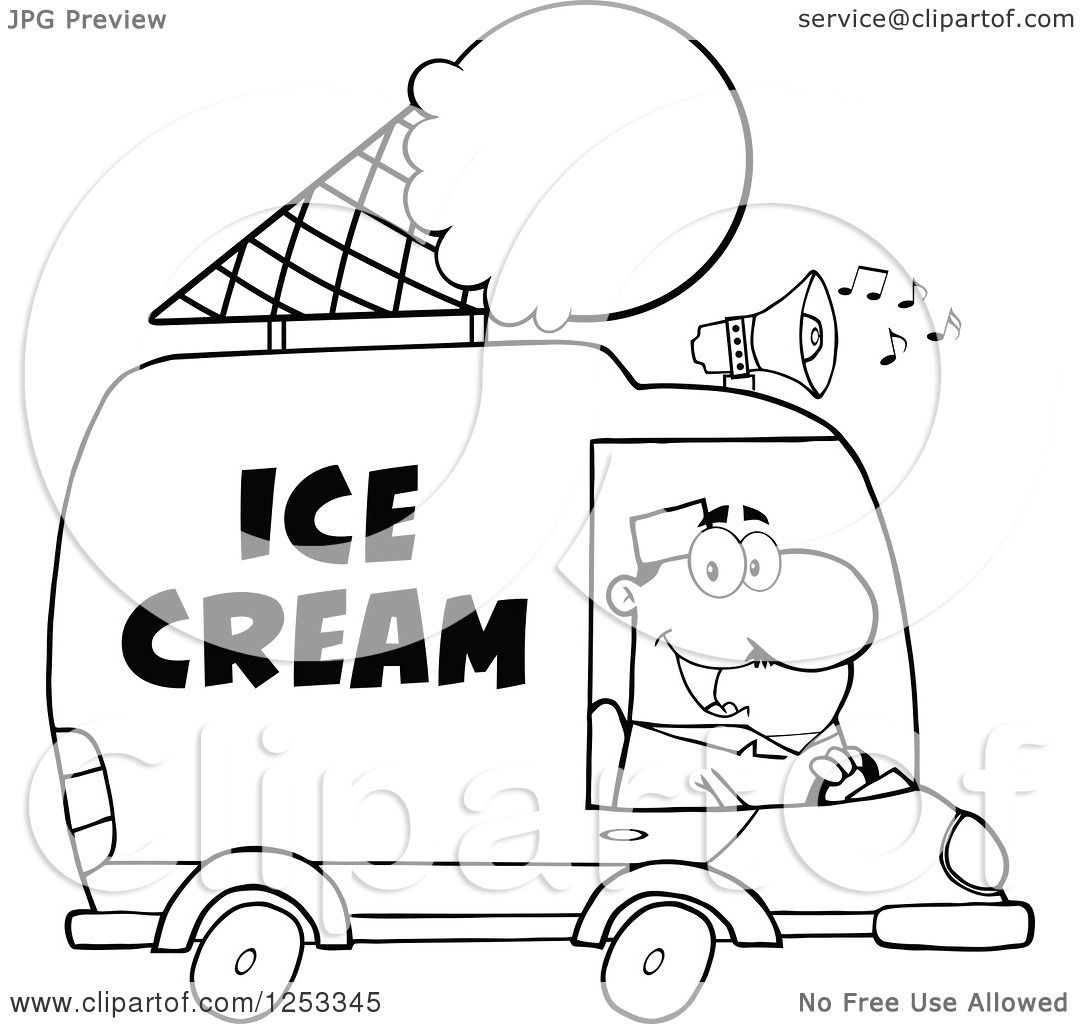 1080x1024 Clipart Of A Black And White Man Driving An Ice Cream Food Vendor