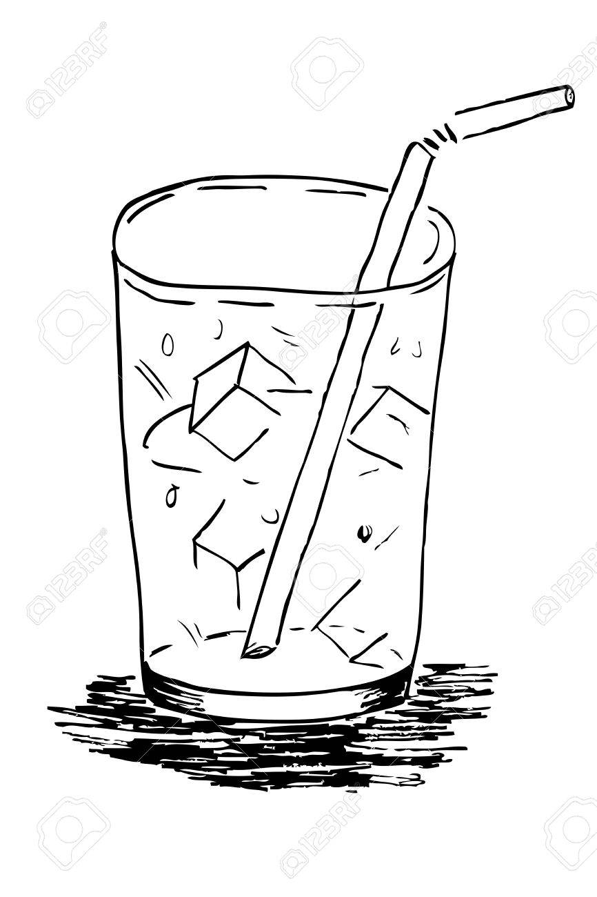 866x1300 Doodle Glass With Ice Cube Straw Stock Photo, Picture