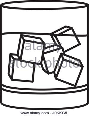 300x393 Glass Of Water With Ice Cubes. Vector Sketch Illustration Stock