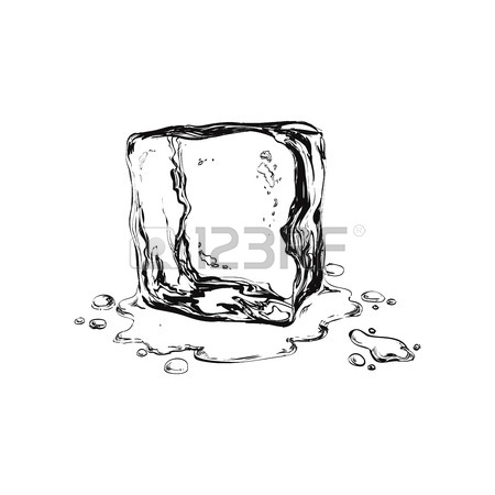 450x450 Hand Drawn Ice Cubes. Black And White Vector Illustration