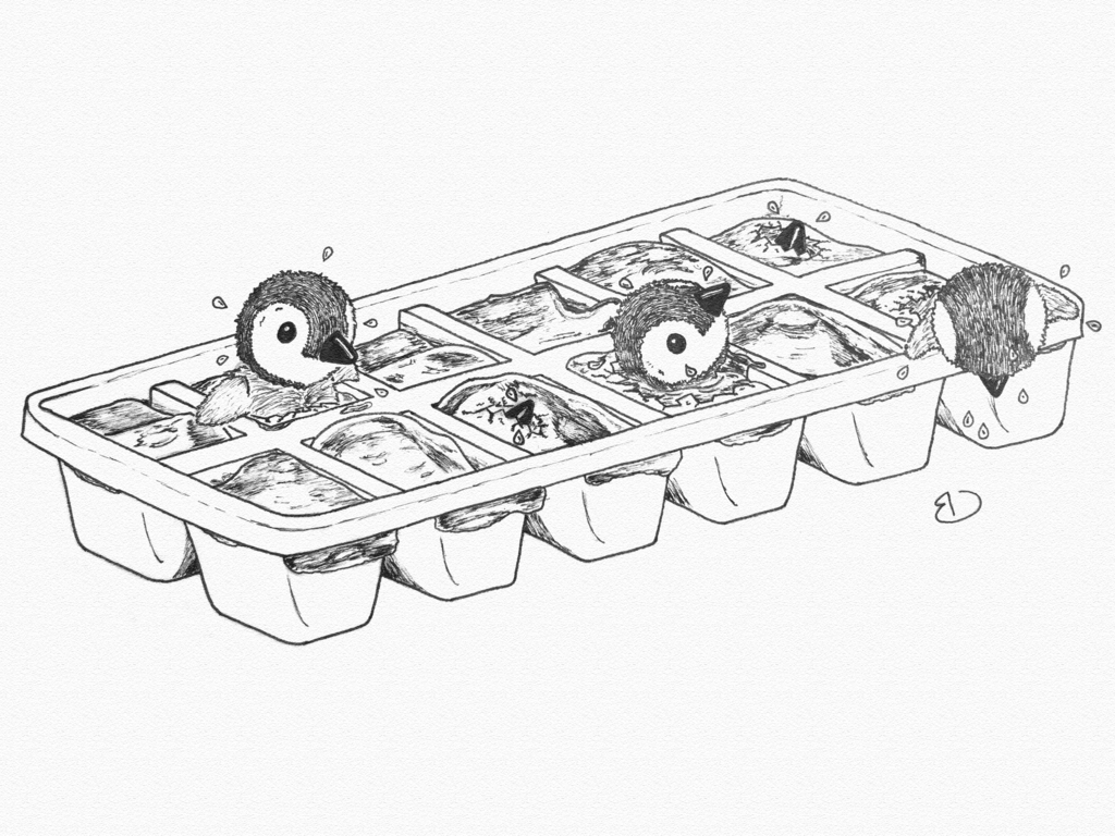 1024x768 Penguins Hatching From An Ice Cube Tray By Bobbydoorduyn