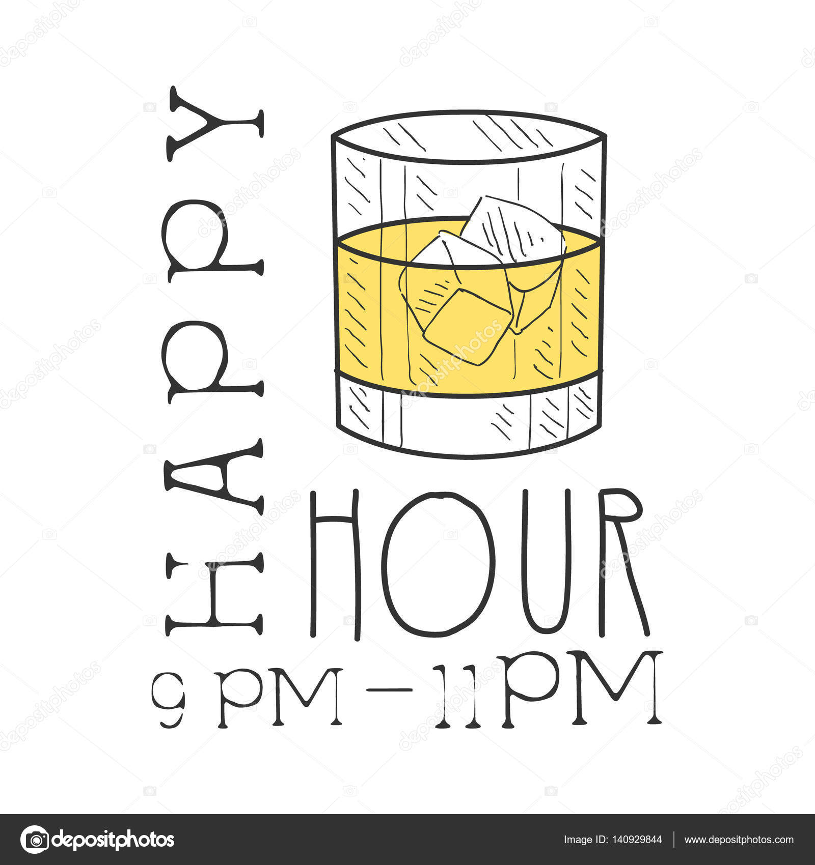 1600x1700 Bar Happy Hour Promotion Sign Design Template Hand Drawn Hipster