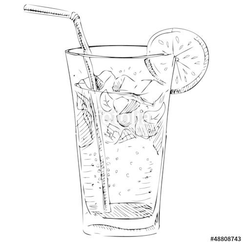 500x500 Soda Glass With Citrus Segment Ice Cubes Stock Image