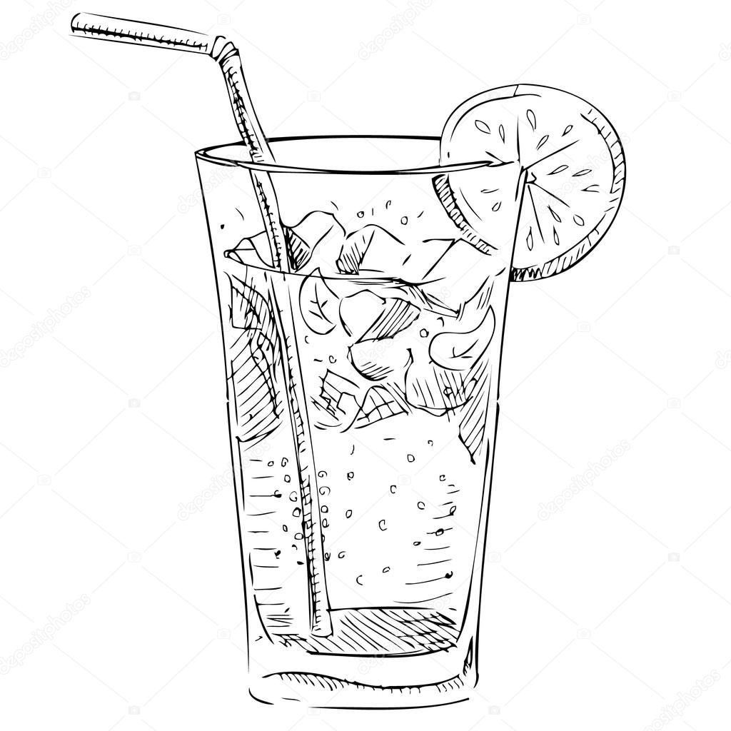 1024x1024 Soda Glass With Citrus Segment And Ice Cubes. Stock Vector