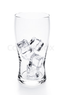 213x320 Glass With Ice Cubes. Isolated On White Background. Stock Photo