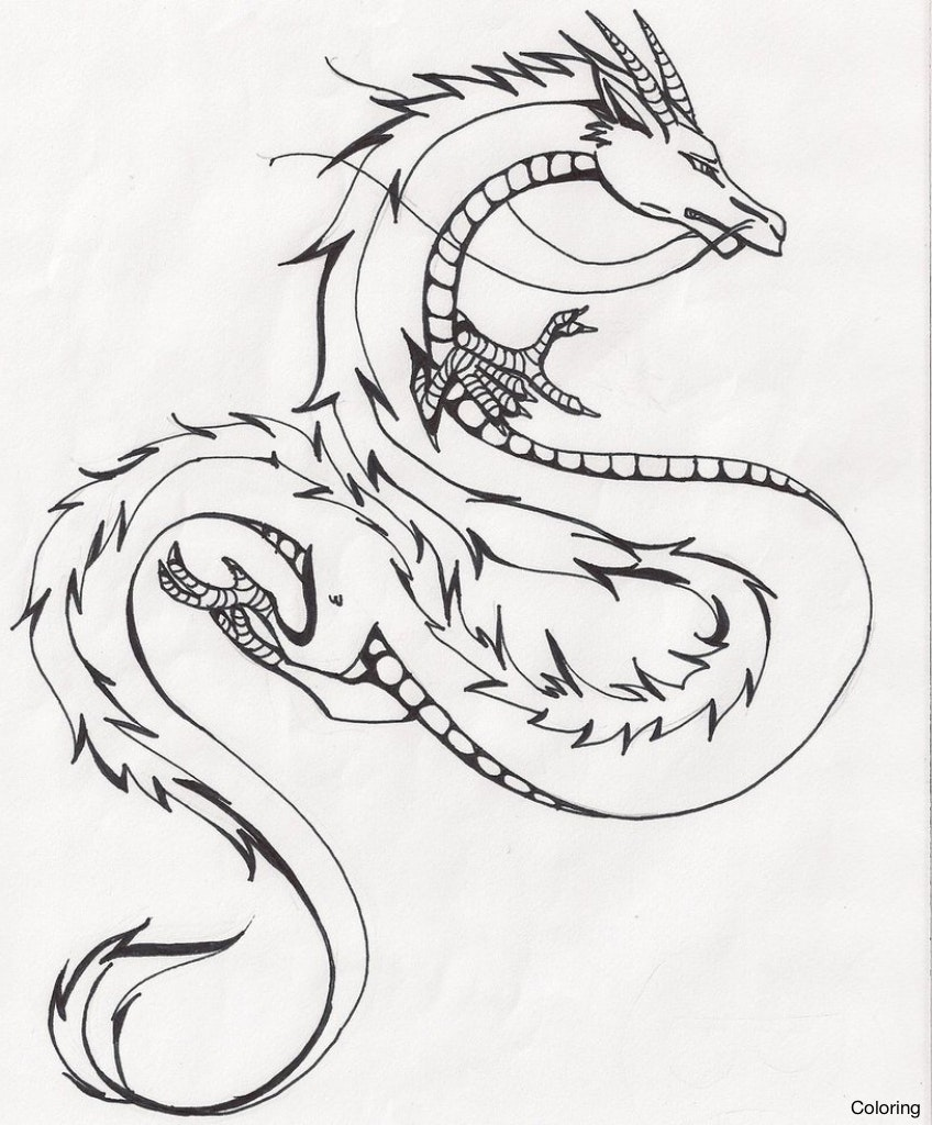 848x1024 Drawing Of Dragons Coloring Dragon Sketch By Tatianamakeeva