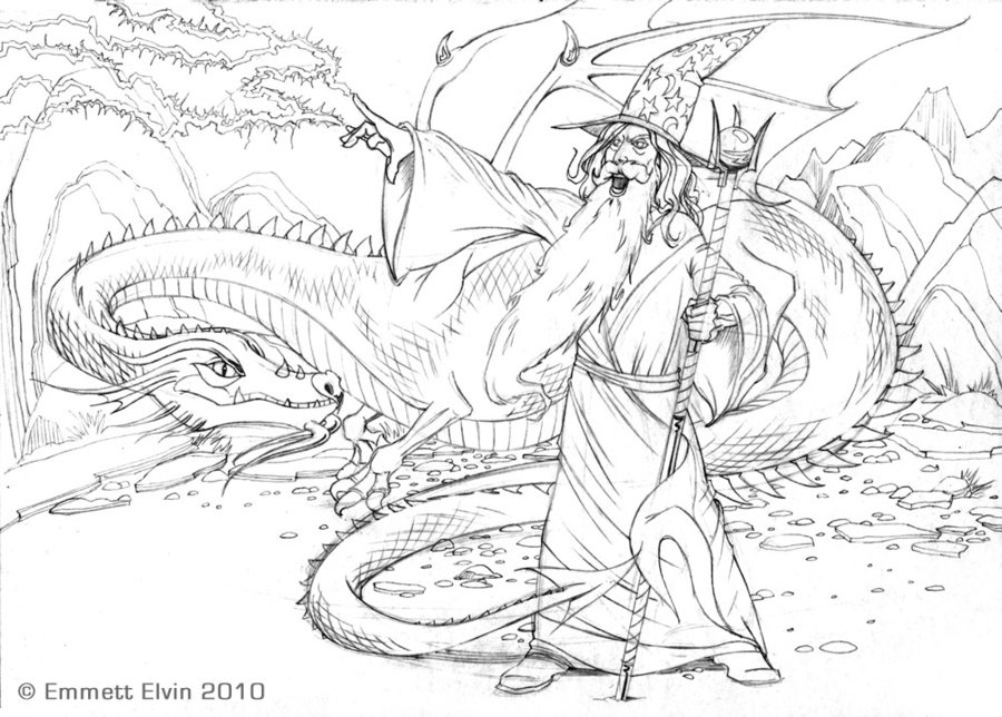 900x644 Ice Dragon Drawings In Pencil Wizard And Dragon Pencils By
