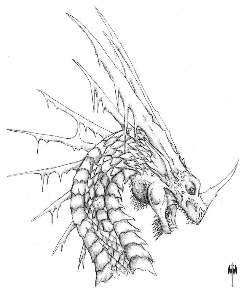 813x983 Ice Dragon Head Scrap By Sheranuva