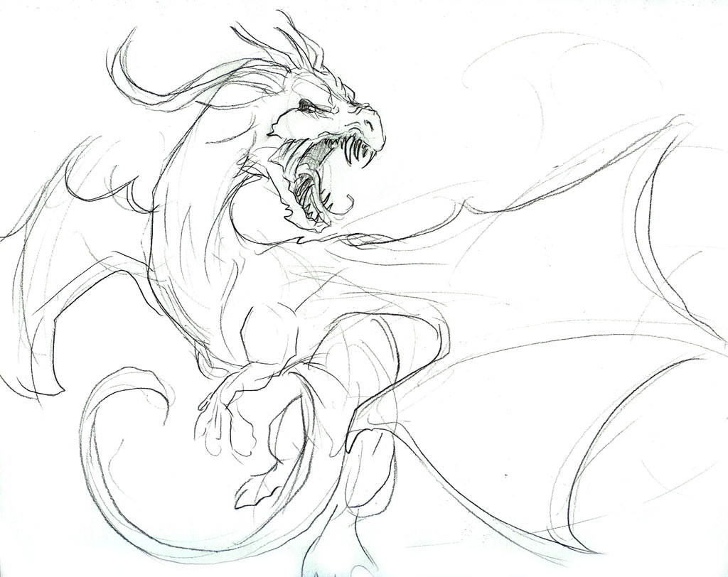 1024x812 Angry Dragon In Flight Sketch By Liquiddragonn