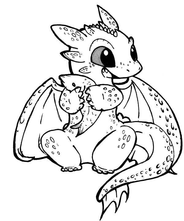 600x722 Chibi Toothless Eat Fish In How To Train Your Dragon Coloring
