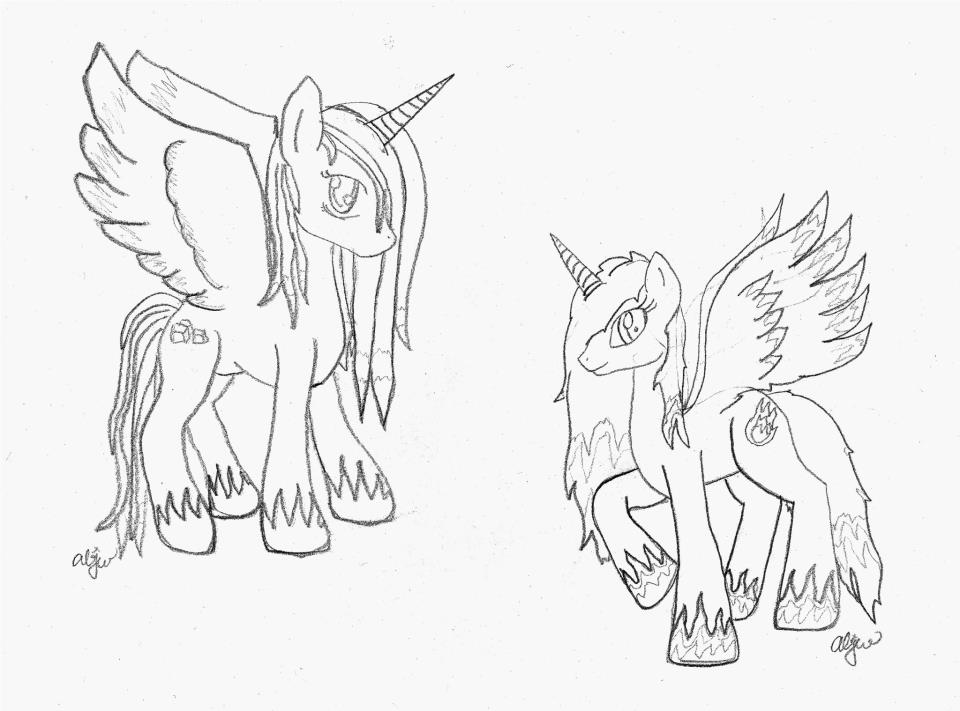 960x711 Fire And Ice Alicorns Wip By Shylyn Drawing Queen
