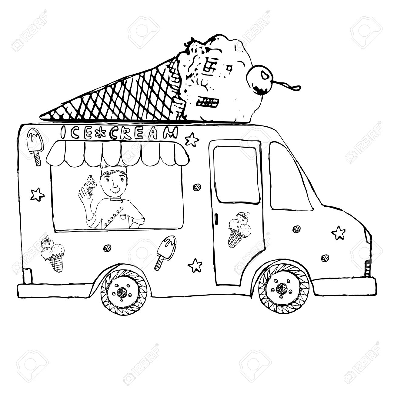 1300x1300 Hand Drawn Sketch Ice Cream Truck, With Yang Man Seller And Ice