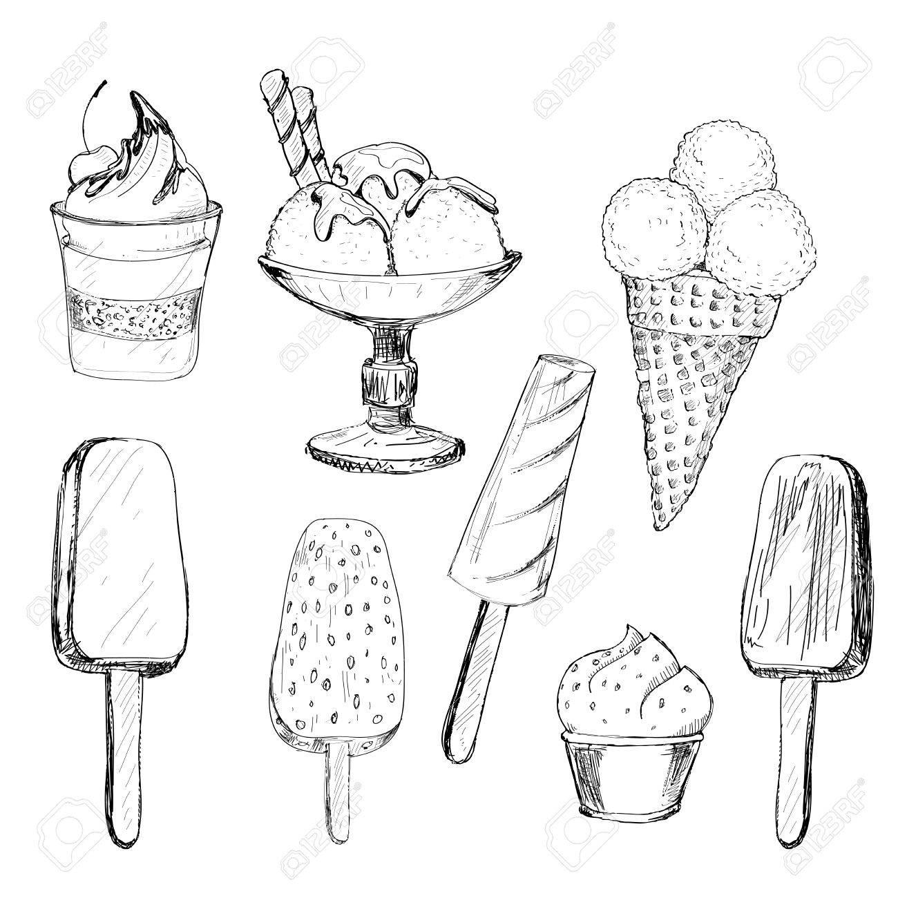 1300x1300 Ice Cream. Set Of Graphic Hand Drawn Illustrations Royalty Free