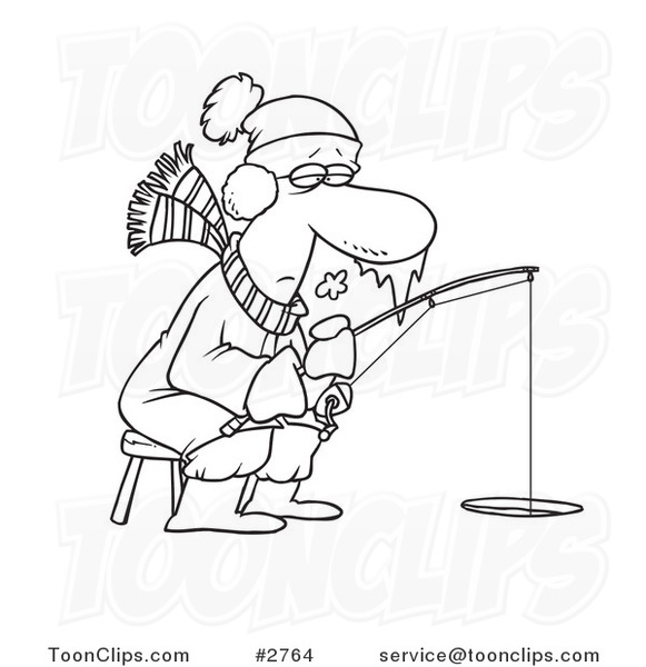 581x600 Cartoon Black And White Line Drawing Of A Frozen Guy Ice Fishing