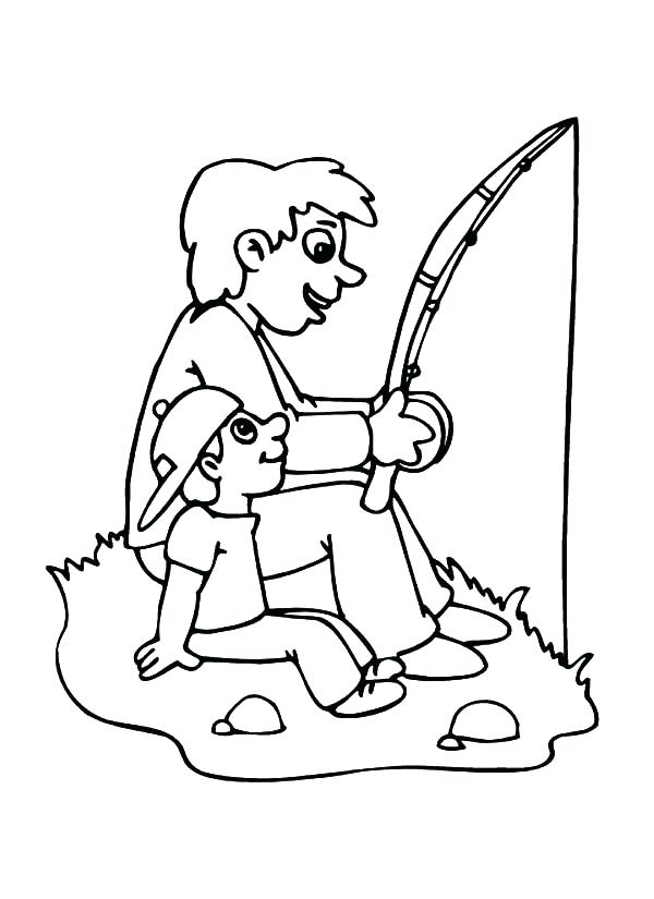 600x825 Fishing Color Pages Best Dad Going Fishing Coloring Pages Ice