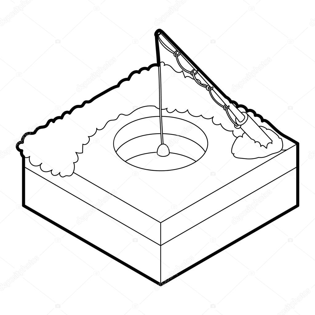 1024x1024 Hole For Ice Fishing Icon, Outline Style Stock Vector