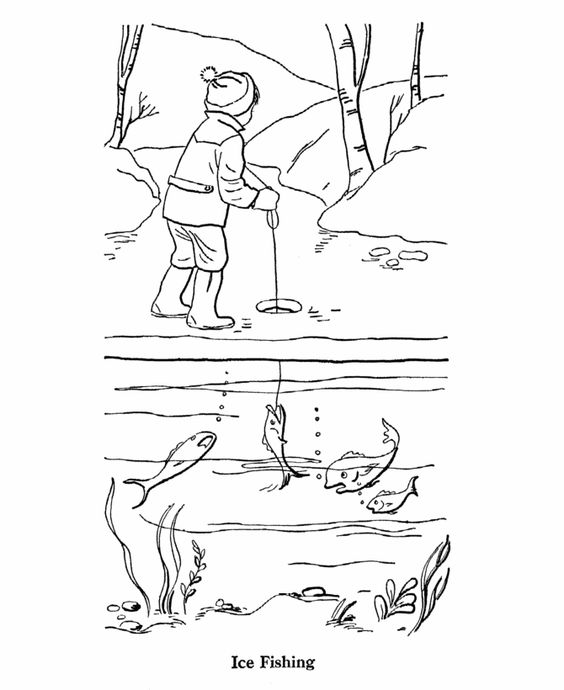 564x690 Ice Fishing Coloring Page Icehouse Ice Fishing