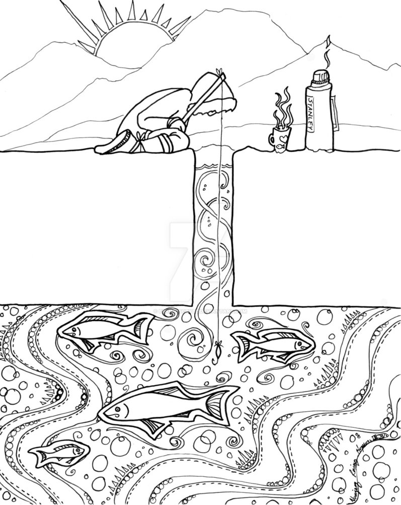 Ice Fishing Drawing at GetDrawings.com | Free for personal use Ice ...