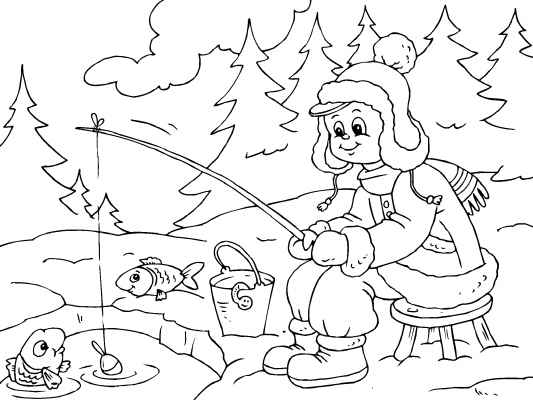 533x400 All Bundled Up For Some Ice Fishing! A Cute Winter Coloring Page