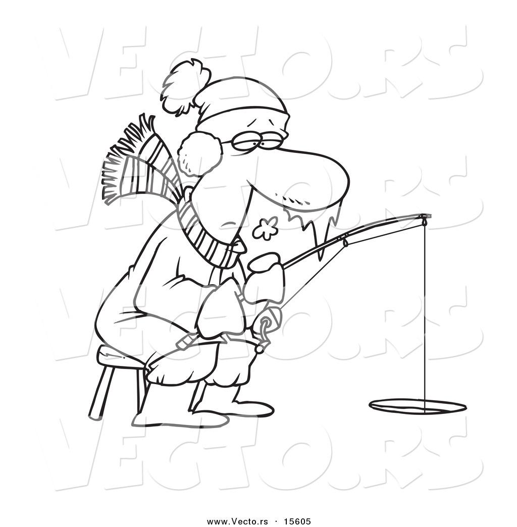 1024x1044 Vector Of A Cartoon Frozen Man Ice Fishing