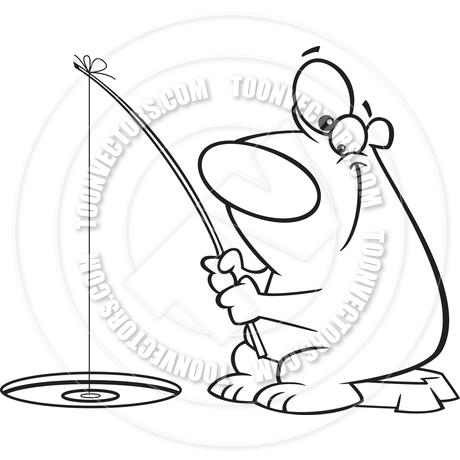 460x460 Cartoon Polar Bear Ice Fishing (Black Amp White Line Art) By Ron