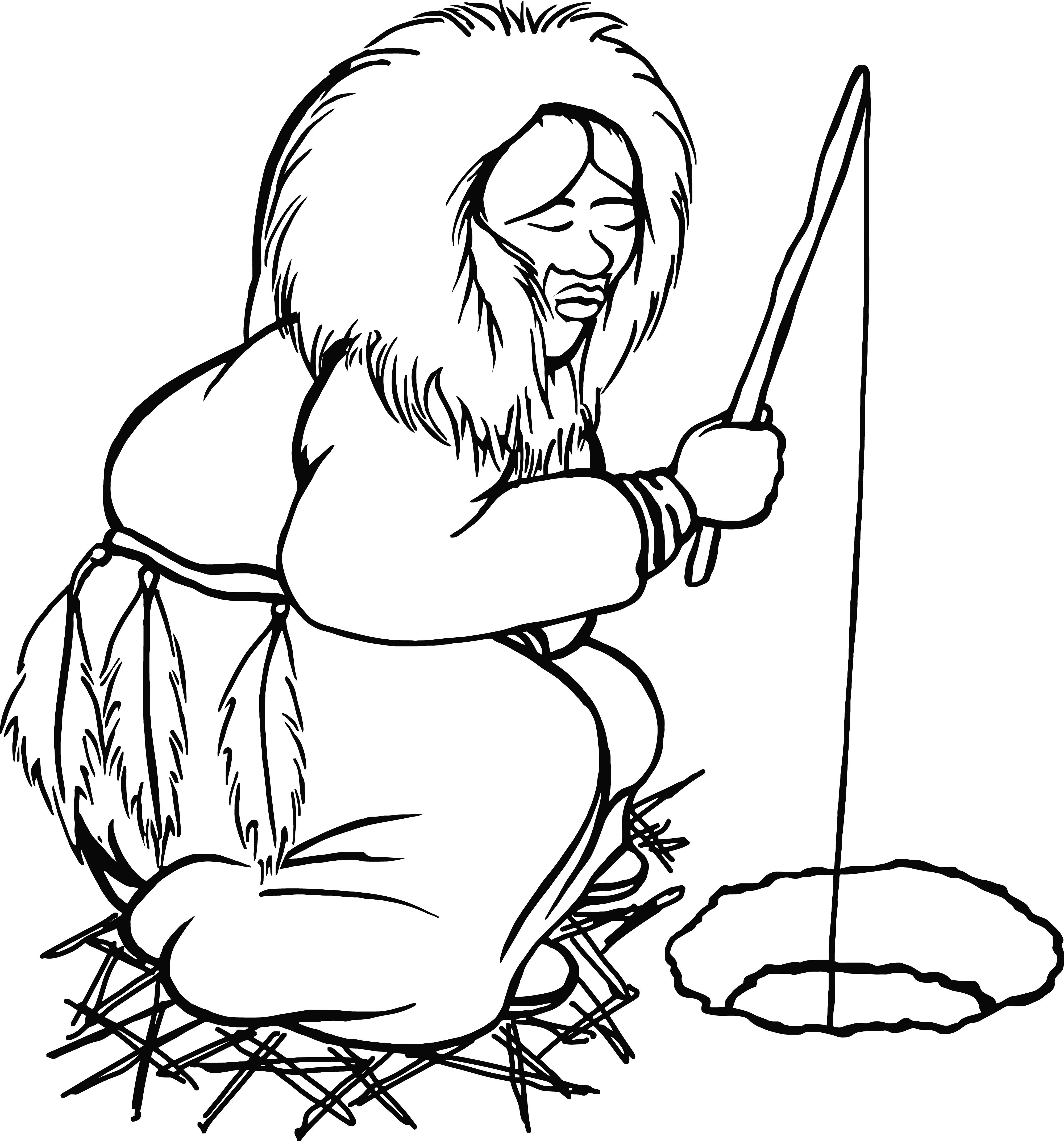 4000x4290 Clipart Of An Ice Fishing Eskimo