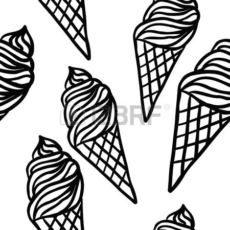 450x450 Ice Cream Vector Seamless Pattern. Summer Ice Dessert Collection