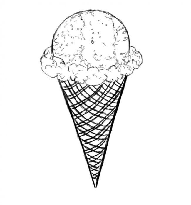 650x697 Pin Drawn Ice Cream Realistic 2. Ice Cream Cone. Pin Drawn Ice Ice