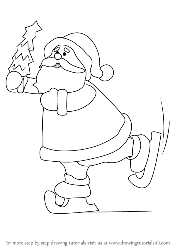 597x844 Learn How To Draw A Ice Skating Santa (Christmas) Step By Step