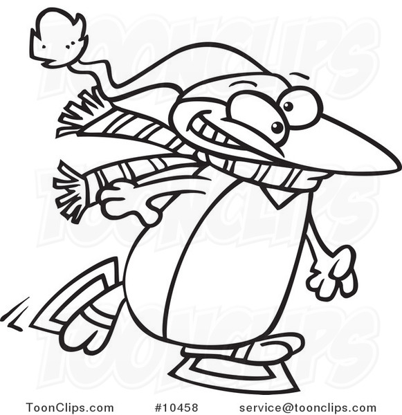 581x600 Cartoon Black And White Line Drawing Of A Winter Penguin Ice